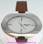 Montre femme ovale acier bracelet brun